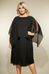 YOURS LONDON Black Embellished Cape Dress