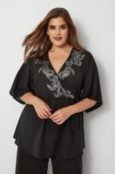 YOURS LONDON Black Embellished Kimono Blouse