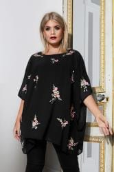 YOURS LONDON Black Floral Embroidered Chiffon Cape Top