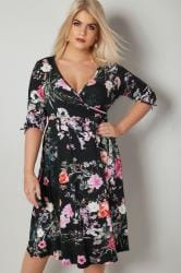 YOURS LONDON Black Floral Jersey Wrap Dress With 3/4 Length Tie Sleeves