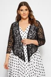 YOURS LONDON Black Floral Stretch Lace Shrug