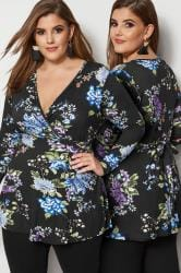 YOURS LONDON Black Floral Wrap Top