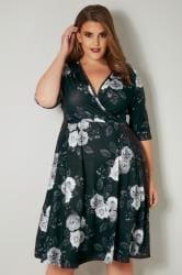 YOURS LONDON Black & Grey Floral Wrap Dress
