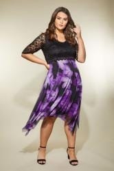 YOURS LONDON Black & Purple Floral Dress With Lace Overlay