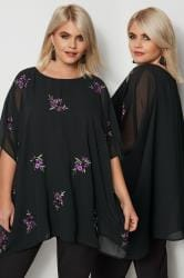 YOURS LONDON Black & Purple Floral Embroidered Cape Top