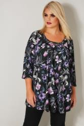 YOURS LONDON Black & Purple Floral Jersey Top With Metal Necklace Trim