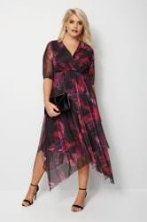 YOURS LONDON Black & Purple Mesh Midi Dress With Hanky Hem