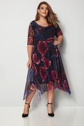 YOURS LONDON Black & Purple Rose Midi Dress With Cowl Neck