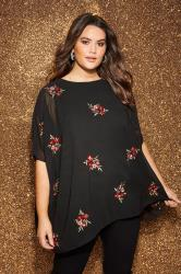 YOURS LONDON Black & Red Floral Embroidered Sequin Cape Top