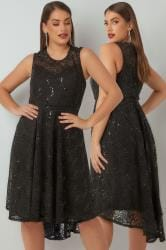 YOURS LONDON Black Sequin Embellished Dress With Curved Hem