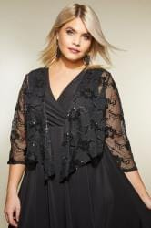 YOURS LONDON Zwarte mesh bolero met pailletten
