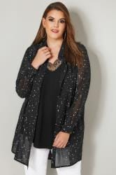 YOURS LONDON Black Spotted Chiffon Longline Shirt