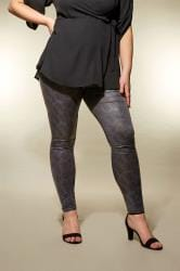 YOURS LONDON Black Textured Snake Print Leggings