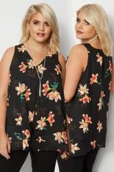 YOURS LONDON Black & Yellow Floral Layered Chiffon Top