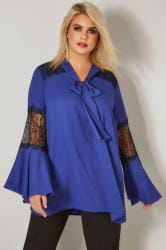 YOURS LONDON Cobalt Blue Pussy Bow Chiffon Blouse