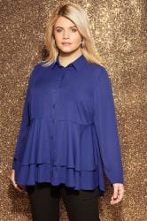 YOURS LONDON Cobalt Blue Ruffle Shirt