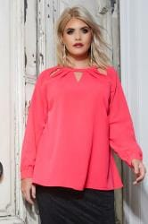 YOURS LONDON Coral Pink Crepe Top With Cut Out Neckline