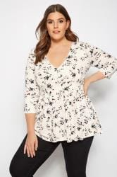 YOURS LONDON Cream Floral Peplum Tea Top