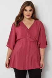 YOURS LONDON Dark Pink Wrap Blouse With Kimono Sleeves