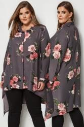 YOURS LONDON Grey & Pink Floral Hanky Hem Shirt