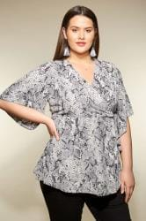 YOURS LONDON Grey Snake Print Wrap Blouse With Kimono Sleeves