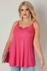 YOURS LONDON Hot Pink Eyelash Lace Cami Top
