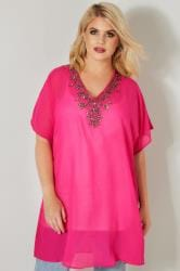 YOURS LONDON Hot Pink Jewel Embellished Chiffon Kimono Top