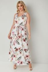 YOURS LONDON Ivory Tropical Maxi Dress With Tie Waist