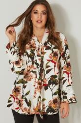 YOURS LONDON Ivory Tropical Pussy Bow Blouse