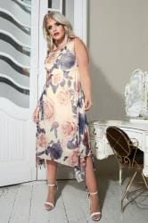 YOURS LONDON Ivory Floral Midi Dress With Cowl Neck