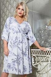 YOURS LONDON Light Blue & Grey Floral Wrap Dress With Tie Waist