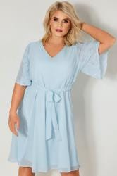 YOURS LONDON Light Blue Chiffon Dress With Embellished Angel Sleeves