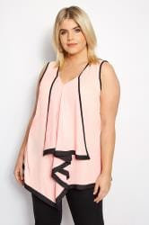 YOURS LONDON Light Pink & Black Asymmetric Ruffle Blouse