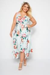YOURS LONDON Mint Floral Wrap Dress With Hanky Hem