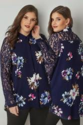 YOURS LONDON Navy Floral Print Shirt With Lace Sleeves