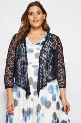 YOURS LONDON Navy Floral Stretch Lace Shrug