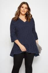 YOURS LONDON Navy Polka Dot Frilled Blouse
