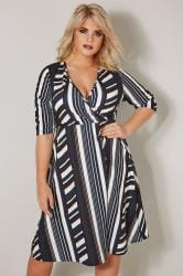 YOURS LONDON Navy & White Striped Wrap Dress