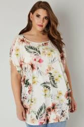 YOURS LONDON Off White Tropical Cape Top
