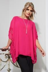 YOURS LONDON Pink Chiffon Cape Top With Lace Trim & Free Necklace