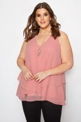 YOURS LONDON Pink Layered Chiffon Top
