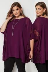 YOURS LONDON Purple Chiffon Cape Top