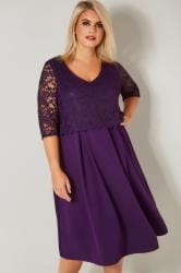 YOURS LONDON Purple Midi Dress With Lace Overlay