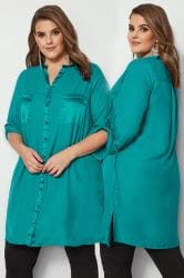 YOURS LONDON Teal Blue Chiffon Blouse With Satin Trim