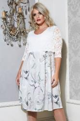 YOURS LONDON White & Grey Floral Midi Dress With Lace Overlay