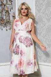 YOURS LONDON White & Multi Floral Lace Wrap Dress