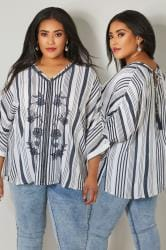 YOURS LONDON White & Navy Stripe & Floral Embroidered Cape Top With Tassel Tie Back