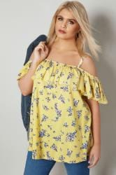 Yellow Butterfly Print Frilled Bardot Top
