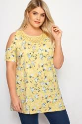 Yellow Ditsy Floral Cold Shoulder Top