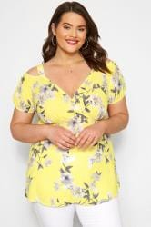 YOURS LONDON Yellow Floral Wrap Cold Shoulder Top